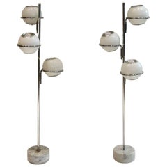 Pair of Three-Globe Floor Lamps by Reggiani, circa 1960s Made in Italy