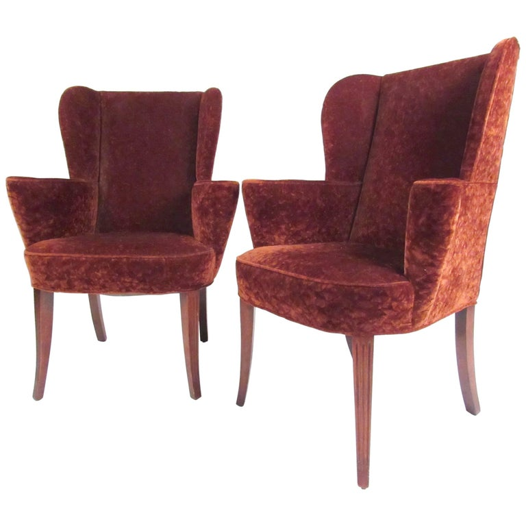 Stylish Pair of Wingback Armchairs