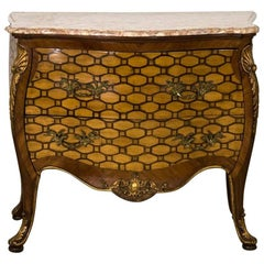 Italian Rococo Style Inlaid Bombe Commode, Late 19th Century
