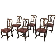 Set of Six Antique Italian Walnut Baroque Dining Chairs with Leather Upholstery