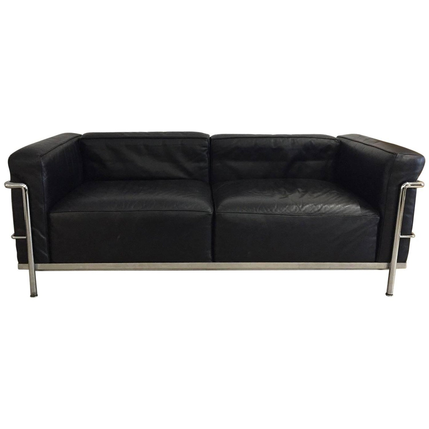 Pair of LC3 Le Corbusier Black Poltrona Lounge Chairs For Sale at ...