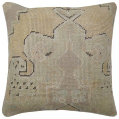 Vintage Oushak Rug Pillow with Medallion