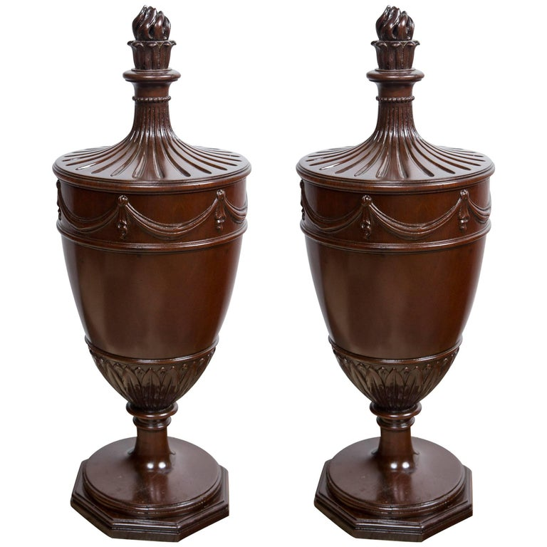 Pair of Mahogany Urns with Lids