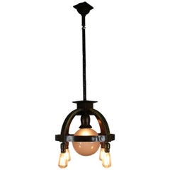 Commercial Ring Fixture with Four Bare Bulbs and Centre Globe