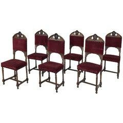Set of Six 19th Century Italian Renaissance Walnut Dining Chairs