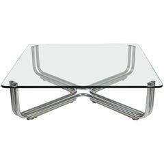 1960s Gianfranco Frattini Crystal Top Coffee Table