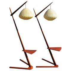 Danish Modern Teak Rispal Style Floor Lamps, Two