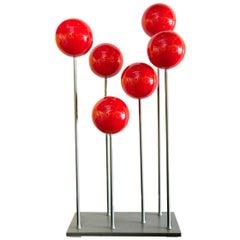 Red Steel Ball and Aluminum Sculpture by Artist Robert Marion