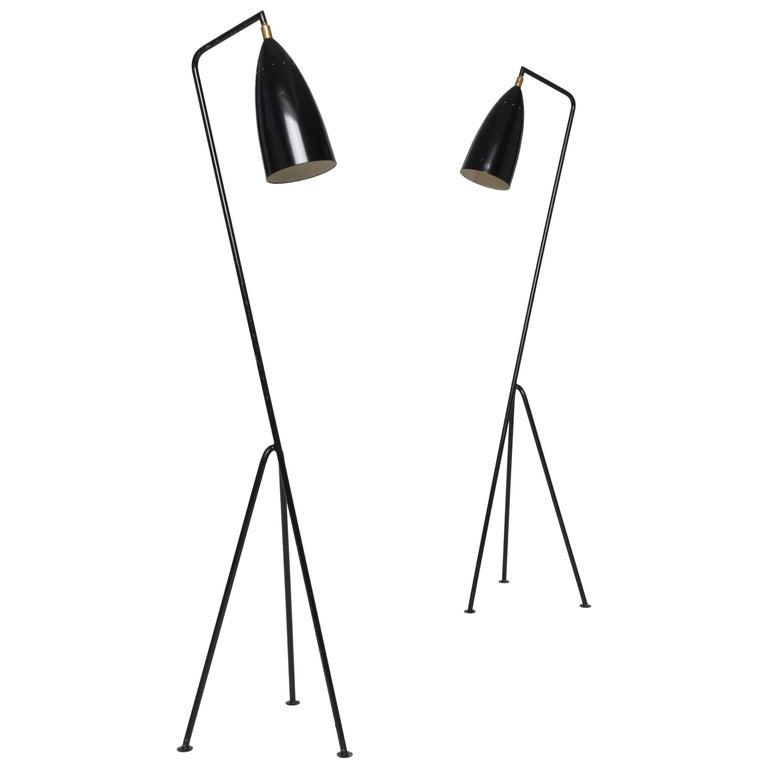 Pair of Mid-Century 'Grasshopper' Floor Lamps in the Manner of Greta Grossman