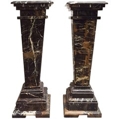 Pair of Neoclassical Style Fluted Marble Pedestals