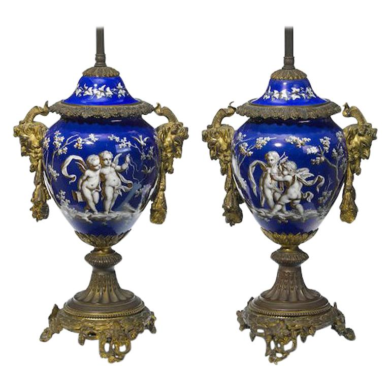 Pair of French Ormolu and Porcelain Covered Urn Lamps, 19th Century