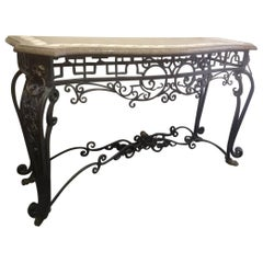 Italian Wrought Iron and Bronze Console with Marble Top