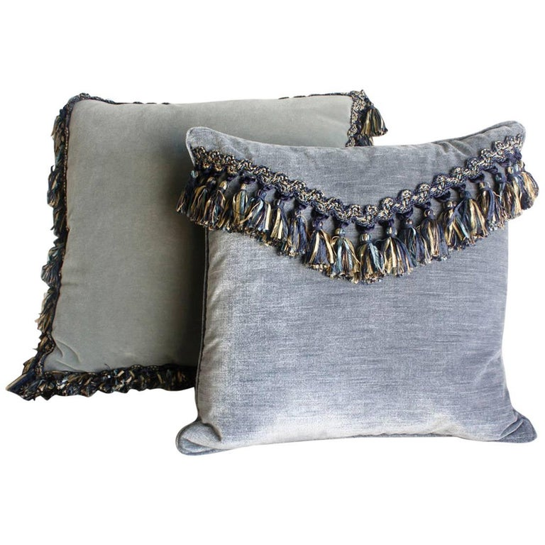 Throw Pillows With Tassels : Pair of Velvet Tassel Throw Pillows For Sale at 1stdibs