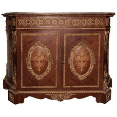 French Ormolu-Mounted Marquetry Credenza