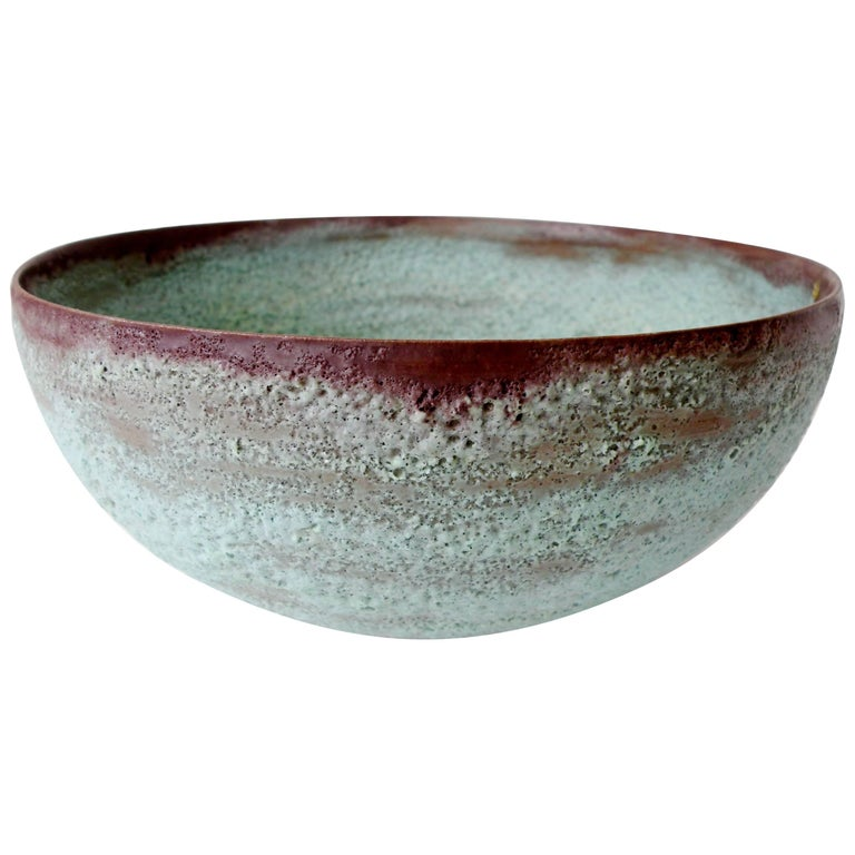 "Beatrice Wood ""Beato"" Pottery Bowl Verdigris Volcanic Glaze For Sale"