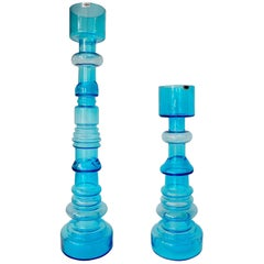 Pair of Oiva Toikka Nuutajärvi Notsjo Tall Majakka Lighthouse Candleholder