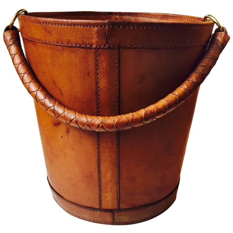 Vintage Danish Tanned Leather and Brass Trash Bin by Illums Bolighus, 1950s