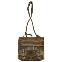 Hand Tooled Leather African Tribal Moroccan Shoulder Bag