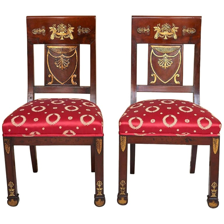 Fine Pair of French Empire Ormolu-Mounted and Giltwood Carved Side Chairs