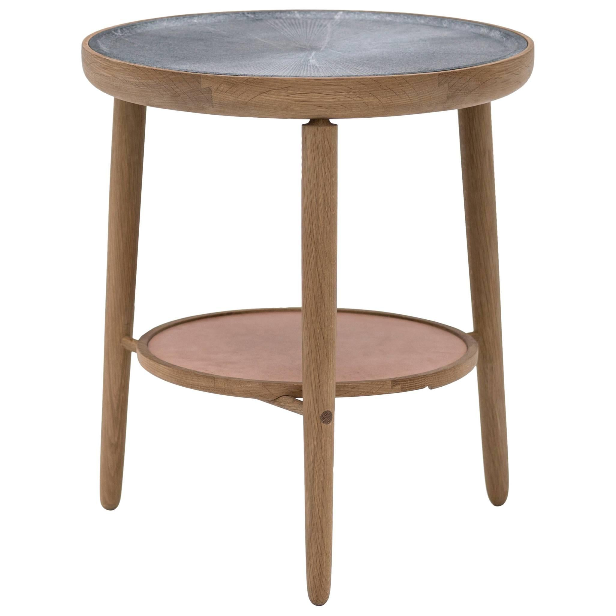 Baré Side Table, Solid White Oak Base with Carved Soapstone Top and Leather Tray