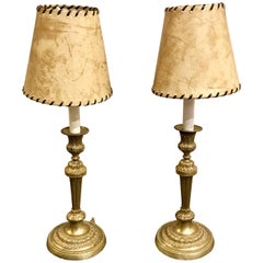 Pair of 19th Century Louis XVI Style Bronze Candlesticks, Now as Lamps