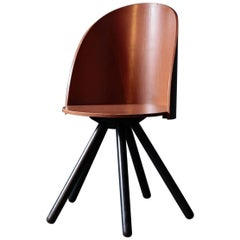 Dinning Chair with Five Legs by Shigeru Uchida with Brown Color