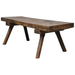 Vintage Hungarian Oak Butcher's Block Coffee Table/Bench, 1930s