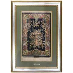 Mid-20th Century Turkish Hereke Silk Hand-Knotted Carpet Depicting Jesus Christ