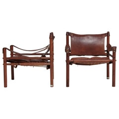 Arne Norell Rosewood and Brown Leather Safari Sirocco Chairs, Sweden, 1960s