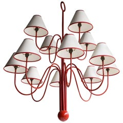 Red Lacquered Tubular Steel Chandelier, style of Jean Royere