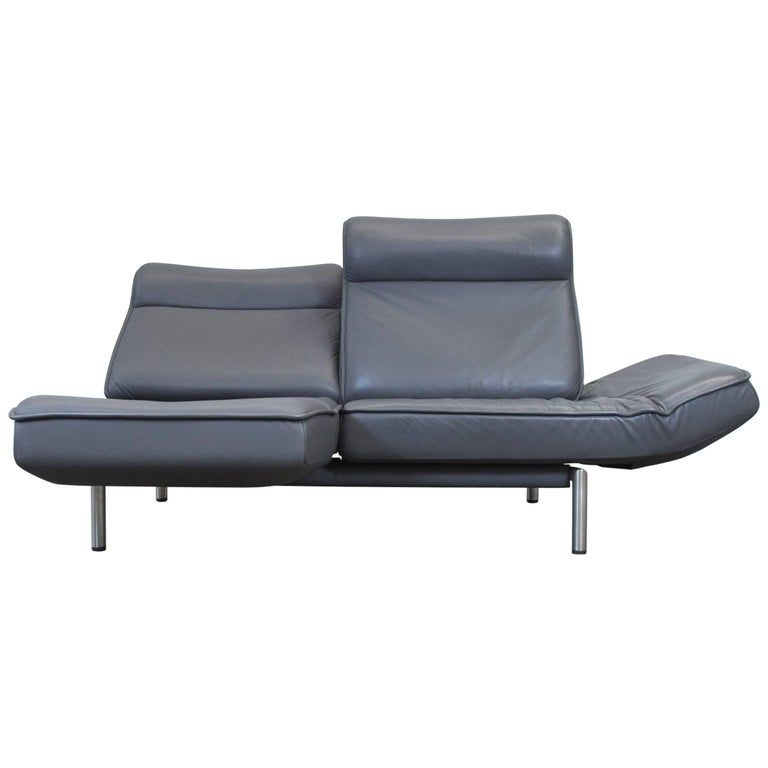 De Sede DS 450 Designer Leather Sofa Grey Anthrazit Decliner Modern Real Leather 1