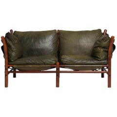 Rare Arne Norell Ilona Sofa in Green Leather, Sweden, 1960s