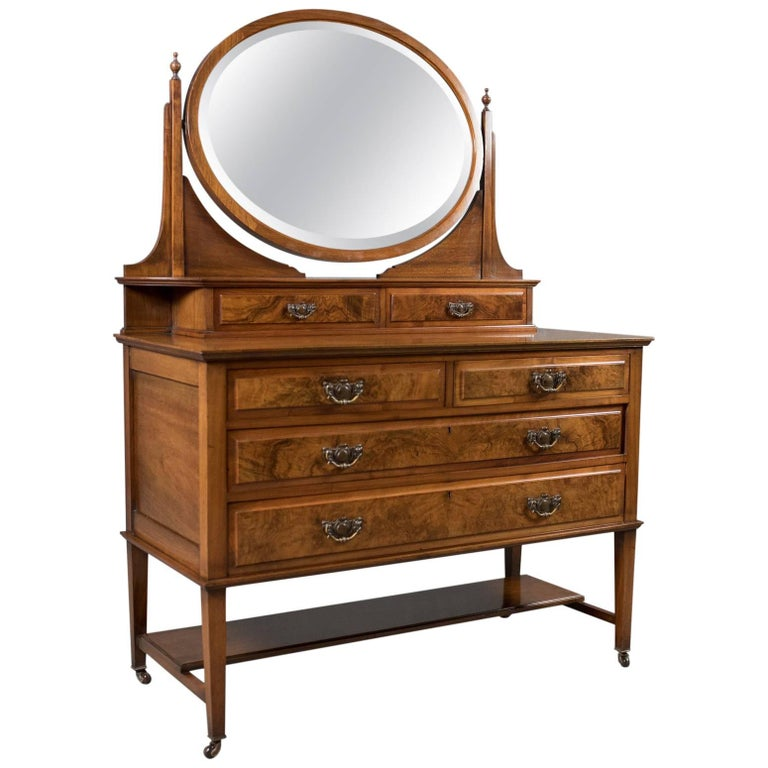 Antique Dressing Table, Edwardian Vanity Chest of Drawers, English, circa 1910