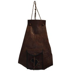 African Vintage Tuareg Leather Bag with Africa Map