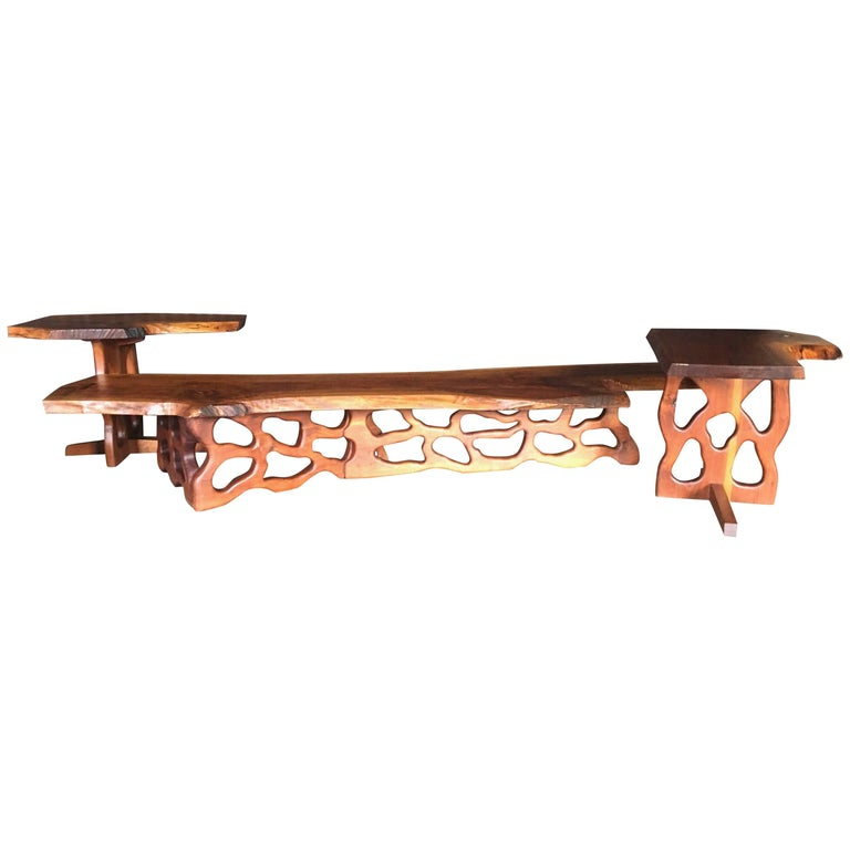 Mid-Century Gino Russo Sculptural Free-Form Walnut Table Suite