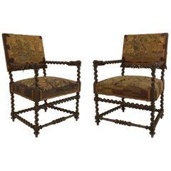 Pair of English Jacobean Style Swirl Design Walnut Armchairs