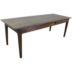 Rustic Antique Oak Farm Table with Bread Slide