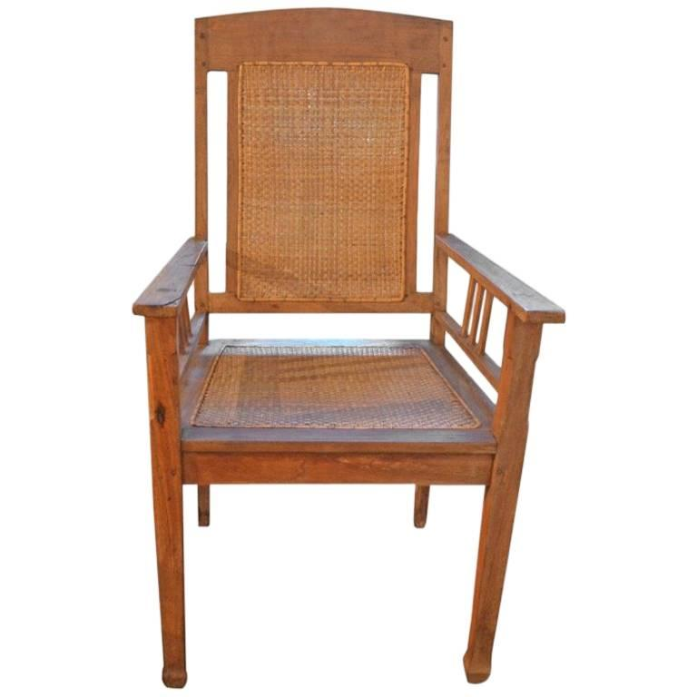 Andrianna Shamaris Colonial Teak Wood and Rattan Chair