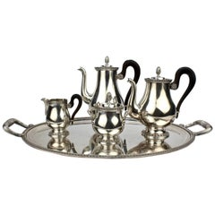Christofle Malmaison French Empire Silver Plated Tea and Coffee Set with Tray