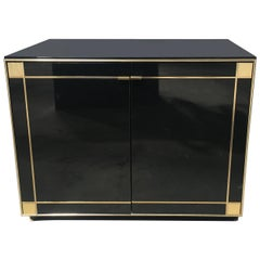 Italian 1970s Black Cabinet with Brass and Simile Mother-of-Pearl Details