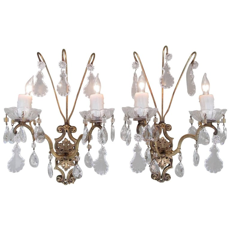 Pair of Early 20th Century Italian Neoclassical Bronze and Crystal Sconces