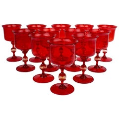 12 Mid-Century Red Venetian Glass Wine Goblets or Glasses