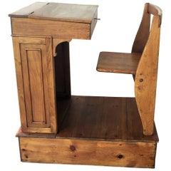 1940s Children's Adjustable Spanish School Desk in Wood
