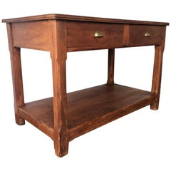 20th Century Pine Kitchen Table, Country Farm Table with Two Drawers