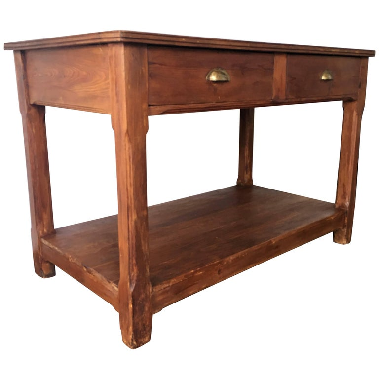 Farmhouse Kitchen Table With Drawers: 20th Century Pine Kitchen Table, Country Farm Table With