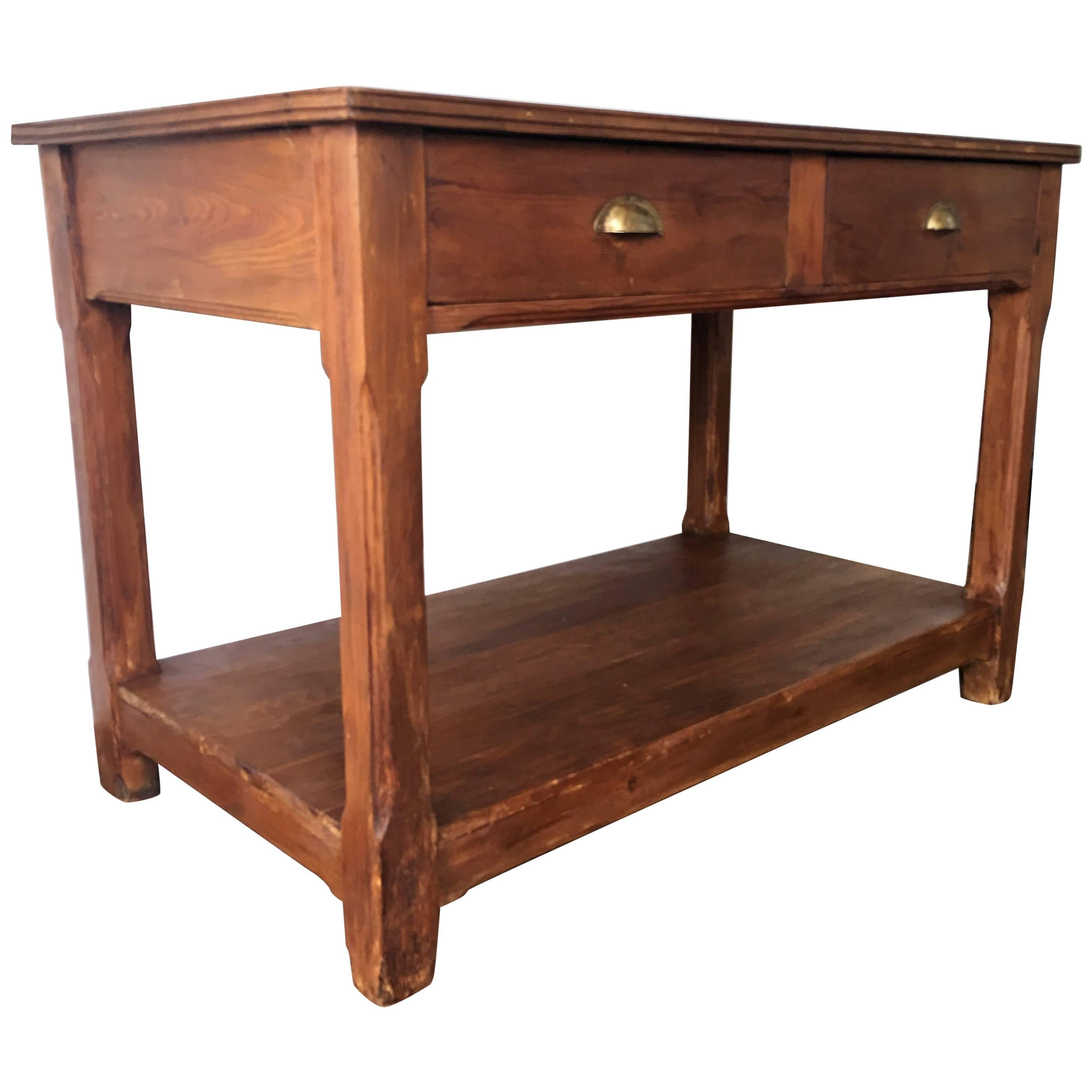 20th Century Pine Kitchen Table, Country Farm Table With Two Drawers 1