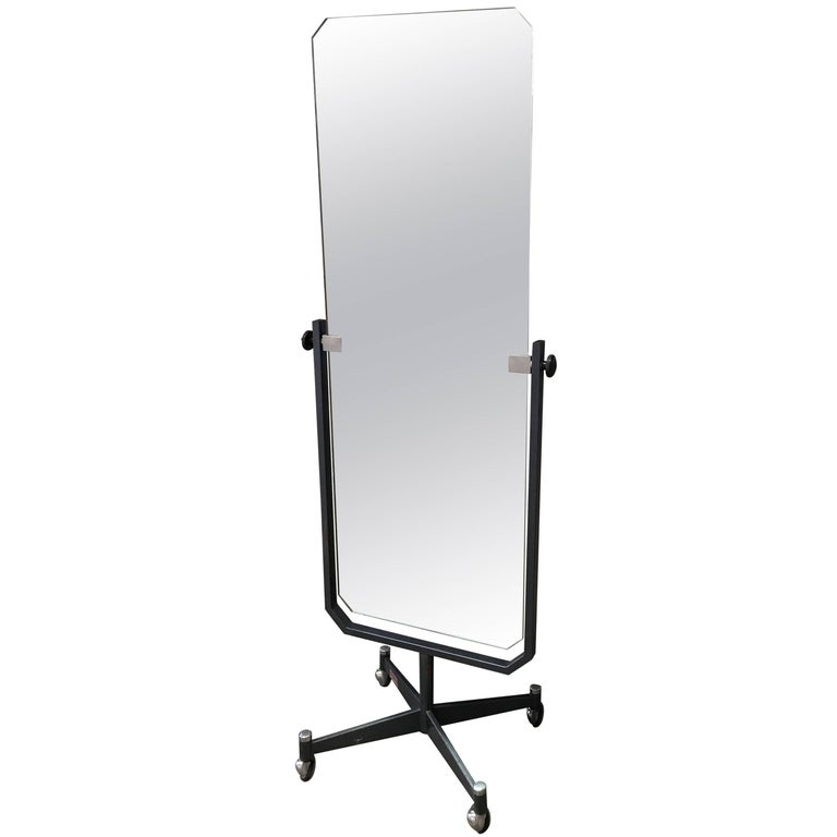 Modernist sartorial full length floor mirror on wheels for Floor length mirror for sale
