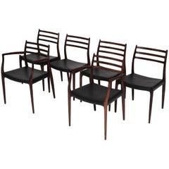 Rosewood Niels O. Møller Model 62/78 Dining Chairs by J.L Møller, Denmark, 1960s