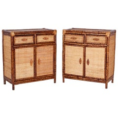 Pair of British Colonial Faux Bamboo Cabinets or Stands