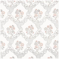 Schumacher Vogue Living Collection Marella Floral Rose Wallpaper Two Roll Set